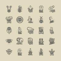 conjunto de ícones de bebida de cerveja artesanal vetor