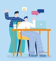 dois jovens nas redes sociais usando um laptop vetor