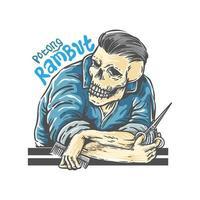 desenho de barbeiro de caveira vetor