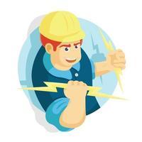 eletricista segurando a iluminação vetor