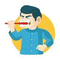 homem escovando dentes com escova de dentes vetor