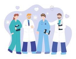 médicos e enfermeiras profissionais vetor