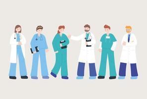 conjunto de ícones de médicos e enfermeiras
