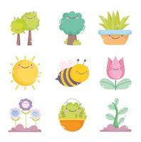 um pacote de ícones de jardinagem kawaii vetor