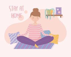 mulher meditando em casa cartão comemorativo vetor