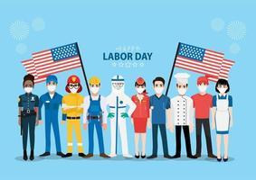 trabalhadores profissionais mascarados design do dia do trabalho vetor
