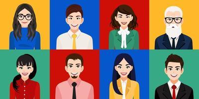 Conjunto de personagens de desenhos animados para homens e mulheres sorridentes
