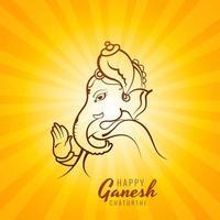 desenho de cartão ganesh chaturthi desenhado à mão