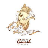 contorno monocromático cartão do festival ganesh chaturthi