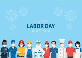 trabalhadores mascarados e fogos de artifício para o dia de trabalho vetor