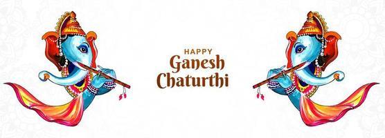 banner do festival indiano pintado em ganesh chaturthi vetor