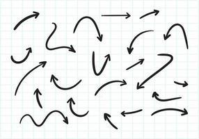 conjunto de setas desenhadas à mão vetor