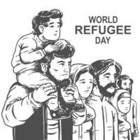 desenho desenhado à mão para o dia mundial dos refugiados com a família vetor