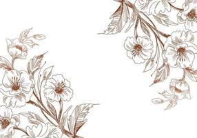 esboço artístico de cantos de flores de casamento vetor