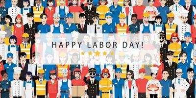 desenho colorido do dia do trabalho do trabalhador profissional vetor