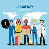 cartão do dia do trabalho com profissionais e mapa mundial vetor