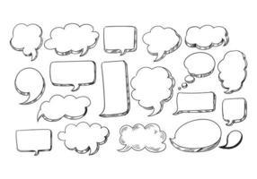 conjunto de balões de fala desenhados à mão vetor