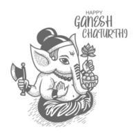 vista lateral desenhada à mão de ganesh chaturthi vetor