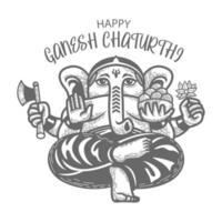 vista frontal desenhada à mão de ganesh chaturthi vetor