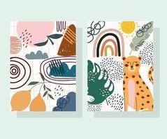 leopardo e frutas com formas contemporâneas desenhadas à mão vetor