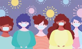personagens variados usando máscaras durante o surto de covid-19 vetor