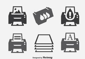 Conjuntos de ícones de elementos da impressora vetor