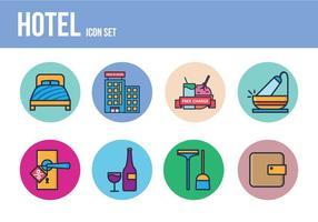 Conjunto de ícones do hotel gratuito vetor