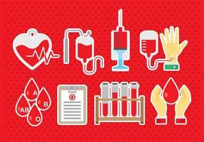 Ícones de transmissão de sangue vetor