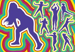 Silhueta da dança de Zumba vetor