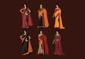 Vetor de estilo das mulheres indianas