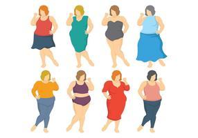 Vetor de ícones de mulheres gordas grátis
