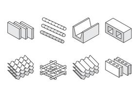 Ícones de material de construção vetor