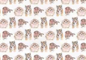 Cute animal vector watercolor pattern