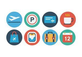 Conjunto de ícones planos do aeroporto gratuito vetor