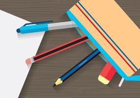 Vetor de caixa estacionária e lápis