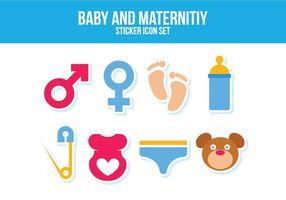 Conjunto grátis de ícones de bebê e maternidade vetor