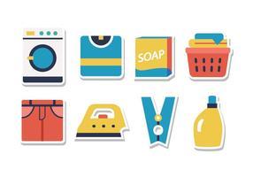 Conjunto de ícones de etiqueta de lavanderia grátis vetor