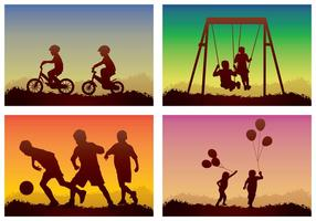 Crianças jogando silhueta