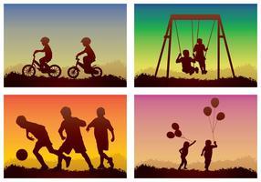 Crianças jogando silhueta vetor