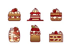 Vetor plano de morango e shortcake