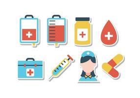 Conjunto de ícones de etiqueta de hospital gratuito vetor