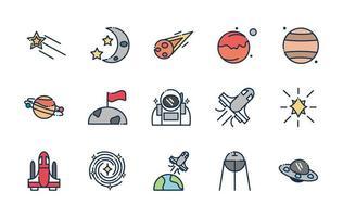 pacote de ícones de astronomia e ciência espacial vetor