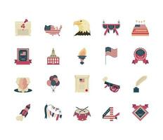 ícones do dia da independência vetor