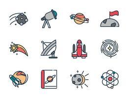 coleção de ícones de astronomia e ciências espaciais vetor