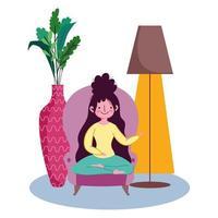 jovem mulher sentada no sofá vetor