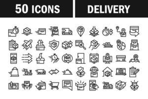 conjunto de ícones de entrega e logística vetor