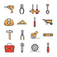 ferramentas de reparo e linha de equipamentos de construção e coleção de ícones de preenchimento vetor