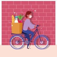 mensageiro de bicicleta com uma sacola de mantimentos vetor