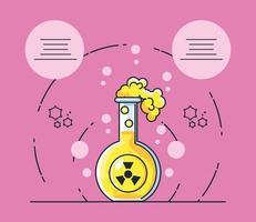 infográfico com um ícone de tubo de ensaio de laboratório químico vetor