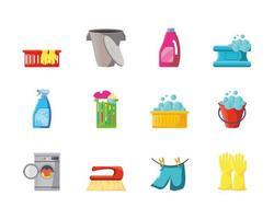 coleção de ícones de limpeza vetor